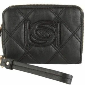 """BEBE """"LILY"""" Zip-Around Quilted Compact Wallet"""